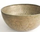 "Large Antique Jambati Tibetan Singng Bowl with Inscription, 11"" across, 5.25"" high"