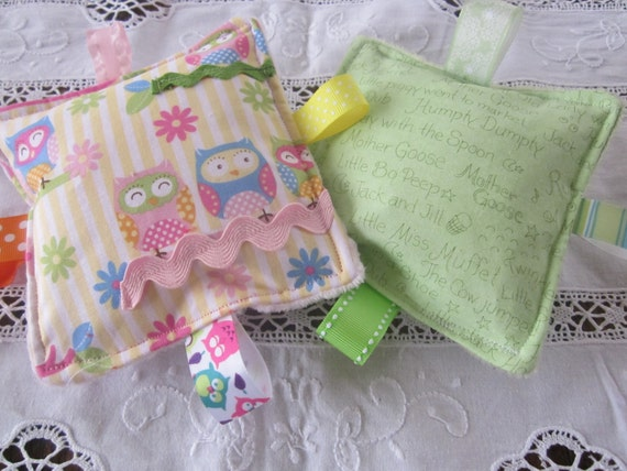 "Baby Girl toys, Crinkle Crackle Toy, set of 2, 5"" squares, lightly stuffed, pillow like, flat, your choice"