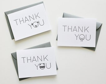 Letterpress Thank You Animals Notecards Variety Pack