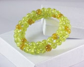 Wrap Bracelet, Memory Wire in Lime Green and Gold