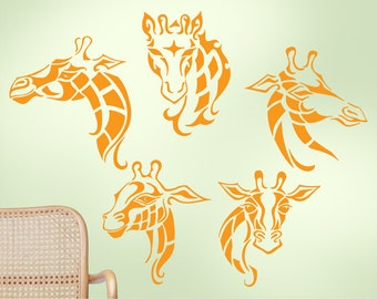 Safari Animal Wall Decal: Five Giraffes, Zoo Decor, Jungle Decor
