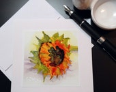 Handmade Sunflower Watercolor and Ink Art Greeting Card by Artist Rebecca Stahr