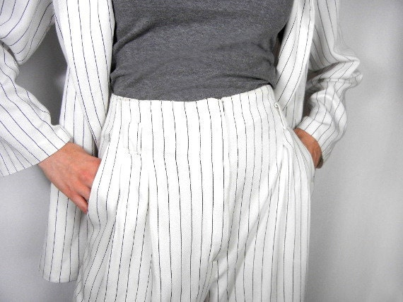 Vintage womens pants suit white with black pinstripes double