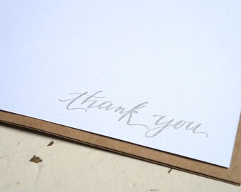 Thank you Note cards - set of 10 gold stamp on white linen card stock - wedding, engagement, shower thank you