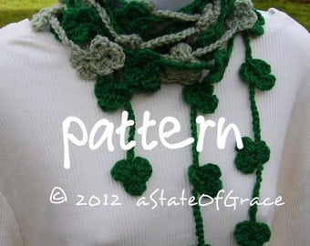 Lucky Clover Lariat Scarf PATTERN, Shamrock, Saint Patricks Day, Crochet, Bunting, Garland, INSTANT DOWNLOAD