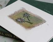 Textile Art Card, Organza & Hand Stitch, Embroidered Dandelions, Gold