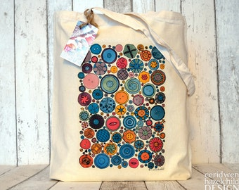 Buttons Tote Bag, Ethically Produced Reusable Shopper Bag, Cotton Tote, Shopping Bag, Eco Tote Bag