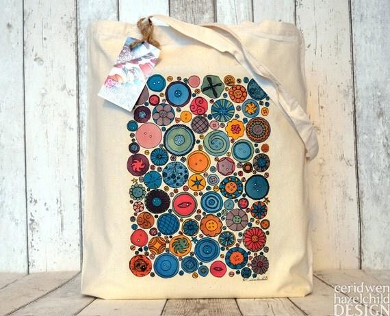 Buttons Tote Bag, Ethically Produced Reusable Shopper Bag, Cotton Tote, Shopping Bag, Eco Tote Bag