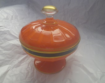 Vintage Glass Footed Candy Dish Orrange
