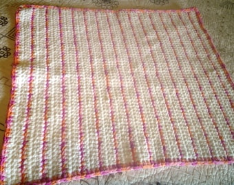 Reduced!! Crochet Baby Blanket Plush and Soft Afghan in Raspberry Pink Peach and White Great Gift for Baby Shower or in the Nursery