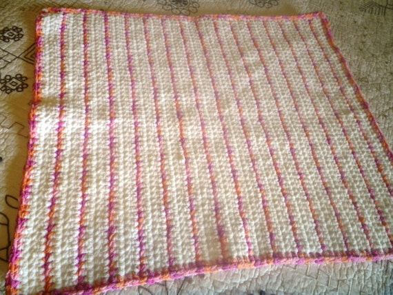 Crochet Baby Blanket Plush and Soft Afghan in Raspberry Pink Peach and White Great Gift for Baby Shower or in the Nursery