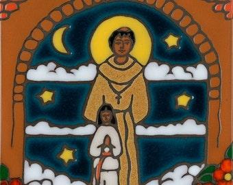 Father Serra ceramic tile hand painted original