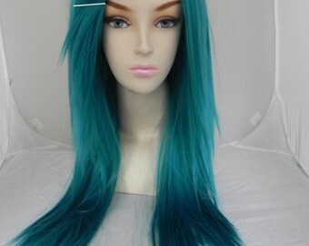 ON SALE // Teal Blue Green / Long Straight Layered Wig