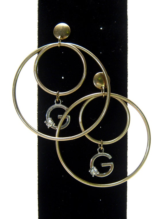 Sale - Vintage hoop earrings, mixed metal, gold and silver tone, letter G charm, Rhinestone, G monogram earrings, pierced, oversized hoops