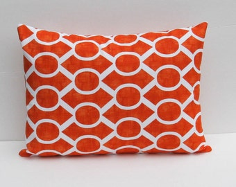 Orange Pillow Lumbar Pillow Cover 16x20 Decorator Pillow Cover.Lattice Pillow.Geometric Pillow Cover.Printed fabric on both sides