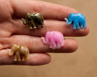 Elephant brooch - Mini Brooch Pin - Blue Pink Brown Green - Plastic - Pick a color!