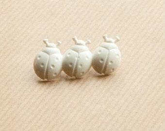 Ladybug Brooch White Three