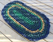 Tavern Rug Crochet Rag Rug Oval Cotton Washable Soft OOAK Handmade Bathmat Kitchen Porch Rich Blue Green Gold Rustic Country Warm Colorful