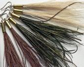 Feather Tassel Bullet Earrings, peacock feather tassel dangle earrings, party wear