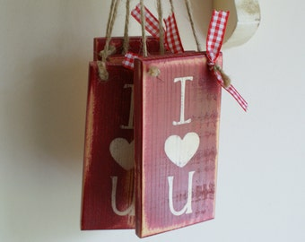 VALENTINES I love you mini wooden sign Vintage Red with gingham bow