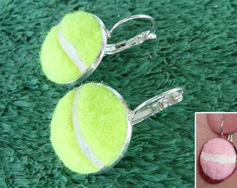 Real Tennis Ball Earrings - Handmade Earrings From a Yellow or Pink Tennis Ball - Sale!