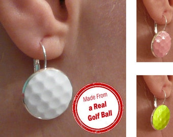 Real Golf Ball Earrings - Handmade Earrings From a White, Pink, or Yellow Golf Ball SALE!