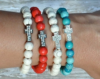 Red White Blue Cross Beaded Bracelets by BeadRustic FREE SHIPPING