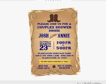 Western Bridal Shower 5 X 7 Digital Invitation
