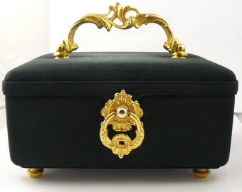 Nettie Rosenstein Black W/ Gold Baroque Handle Box Purse Mad Men Vintage Retro