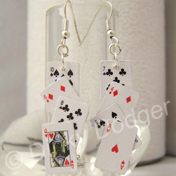 PLAYING CARD EARRINGS - poker, casino, dollhouse miniatures.