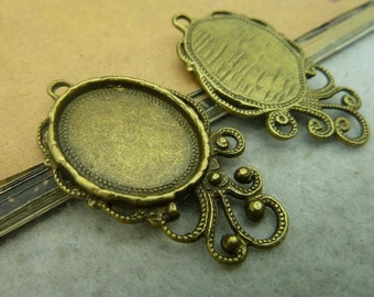 10PCS Antique bronze 18x22mm Oval floral Bezel Cup Cabochon / Cameo Pendant Mountings with Ring DZ124- WC3623