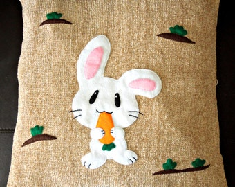 "Rabbit pillow, cushion cover ""White Rabbit with a Carrot"", appliqued, handmade, animal"