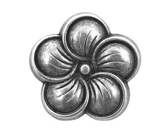 12 Neroli Flower 3/4 inch ( 19 mm ) Metal Buttons Silver Color