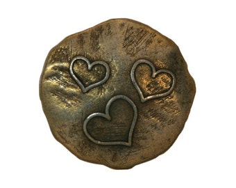 3 Three Hearts 7/8 inch ( 22 mm ) Metal Buttons Brass Color