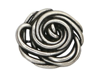 3 Wild Rose 3/4 inch ( 20 mm ) Metal Buttons
