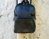 1990s italian  black leather mini-backpack