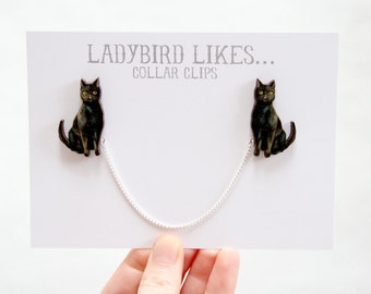 Black Cat Wooden Collar Clips