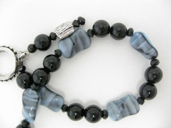 Black bead bracelet  blue glass bracelet   black gemstone bracelet extra length bracelet gift for Birthday Mothers Day gift