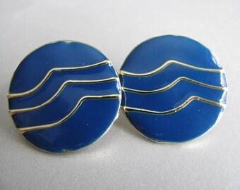 Blue Vintage Stud Earrings - Royal Blue Posts - Vintage Stud Earrings