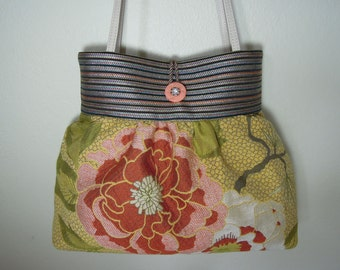 Pleated Bag/Shoulder Purse/Striped Bag, Handmade from Unique and Durable Upholstery Fabrics with Colorful Woven Floral Pattern and Stripes