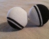 Fabric Covered Black and White Striped Button Earrings