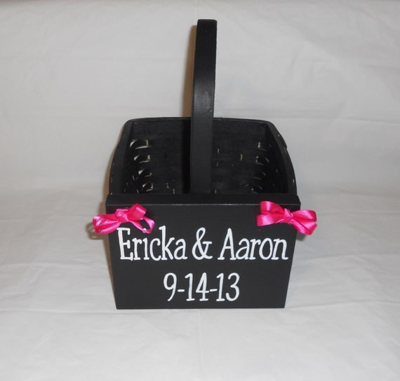 Hot Pink and Black Custom Flower Girl Basket