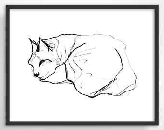 Cat Art Print, Cat Lover Gift, Minimalist Poster, Pen and Ink Drawing, Cat Illustration, Bedroom Decor, Pet Art, Gift for Cat Lover