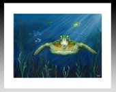 Green Sea Turtle art print giclee Blue Ocean from Original Canvas Painting