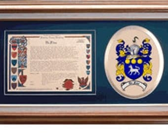 Family Name History with Coat of Arms in a hardwood frame