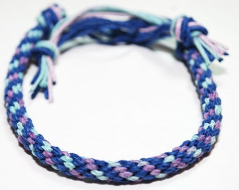 Hemp Bracelet Kumihimo Eco Friendly Blue, Purple & Teal Hemp Mens Jewelry