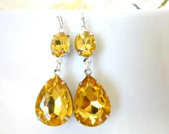 Yellow Topaz Earrings November birthstone Topaz Yellow Rhinestone Teardrop Drop Vintage Estate Style Earrings