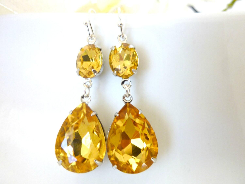 Yellow Topaz Earrings November birthstone Topaz Yellow