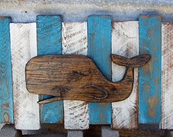 Nautical Wall Decor, French Country wall decor, Distressed beach art,  Distressed whale art, Whale carving