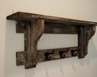 Primitive coat rack, rustic wall shelf, Primitive wall shelf, wester wall shelf, western hat rack, Primitive hat rack